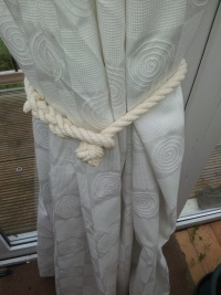 Back of Curtain Rope Hold Back/Tie Back in use