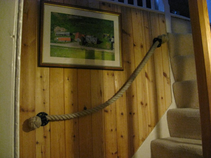 24mm Natural Hemp  Rope Stairs Handrail with Blacksmith Brackets and Manrope Knots