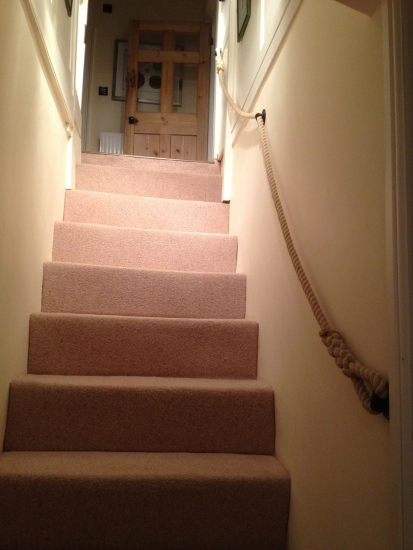 Natural Hemp Rope Stairs  Banister with Blacksmith-made Wall Brackets
