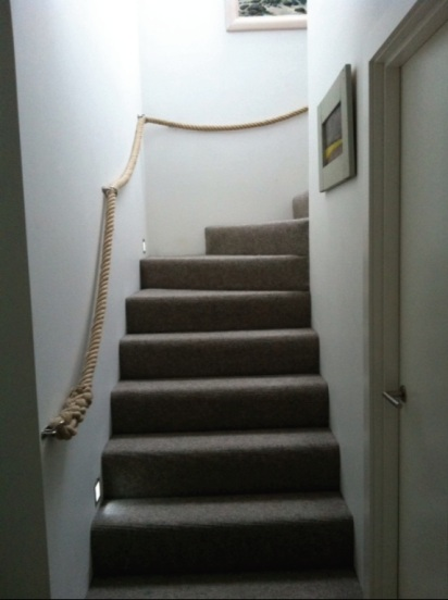 Stairs  Banister (Handrail) made from Natural Hemp Rope with Manager Rings