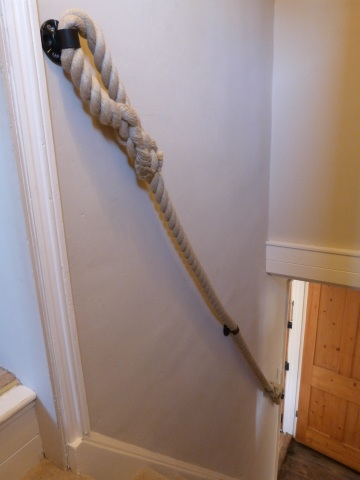 Stairs  Handrail made from Synthetic Hemp Rope with Blacksmith-made Brackets