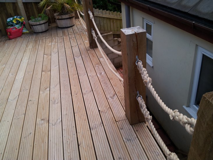 24mm synthetic hemp rope decking barrier with stainless for Garden decking hinckley